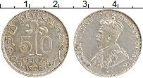 Изображение Монеты Цейлон 50 центов 1920 Серебро XF Георг V