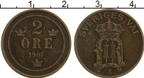 Изображение Монеты Швеция 2 эре 1907 Бронза XF Оскар II