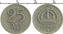 Изображение Монеты Швеция 25 эре 1945 Серебро XF