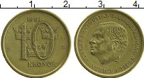 Изображение Монеты Швеция 10 крон 1991 Латунь UNC- Карл XVI