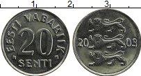 Изображение Монеты Эстония 20 сенти 2003 Медно-никель UNC-