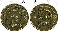 Продать Монеты Эстония 1 крона 2008 Латунь