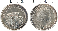 Изображение Монеты Остров Джерси 10 пенсов 2006 Медно-никель UNC- Елизавета II.