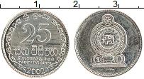 Изображение Монеты Шри-Ланка 25 центов 2002 Медно-никель UNC-