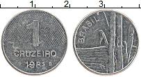 Изображение Монеты Бразилия 1 крузейро 1981 Медно-никель XF