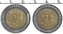 Изображение Монеты Сан-Марино 500 лир 1982 Биметалл UNC- ФАО