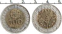 Изображение Монеты Португалия 100 эскудо 1995 Биметалл UNC- 50 лет ФАО