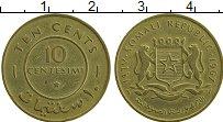 Изображение Монеты Сомали 10 сентесим 1967 Латунь XF
