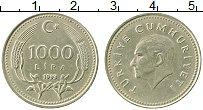 Изображение Монеты Турция 1000 лир 1993 Медно-никель XF