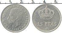 Изображение Монеты Испания 25 песет 1975 Медно-никель XF Хуан Карлос I