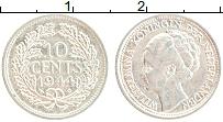 Изображение Монеты Нидерланды 10 центов 1944 Серебро XF Вильгельмина