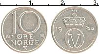 Изображение Монеты Норвегия 10 эре 1980 Медно-никель XF Минтмарка со звездой