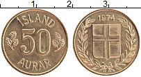 Изображение Монеты Исландия 50 аурар 1974 Латунь UNC-