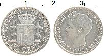 Изображение Монеты Испания 50 сентим 1900 Серебро XF