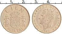 Изображение Монеты Испания 100 песет 1982 Латунь XF Хуан Карлос