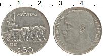 Изображение Монеты Италия 50 сентесим 1921 Медно-никель XF Витторио Эммануил II