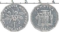 Изображение Монеты Ямайка 1 цент 1991 Алюминий UNC- ФАО