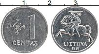 Изображение Монеты Литва 1 цент 1991 Алюминий UNC-