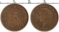 Изображение Монеты Люксембург 5 сантим 1930 Бронза XF