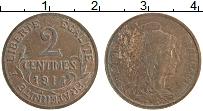 Изображение Монеты Франция 2 сантима 1914 Бронза XF