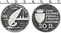 Изображение Монеты Андорра 20 динерс 1989 Серебро Proof-