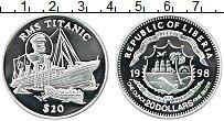 Изображение Монеты Либерия 20 долларов 1998 Серебро Proof Корабль Титаник
