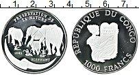 Изображение Монеты Конго 1000 франков 1993 Серебро Proof