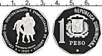 Продать Монеты Доминиканская республика 1 песо 1990 Серебро