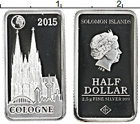 Изображение Монеты Соломоновы острова 1/2 доллара 2015 Серебро Proof Елизавета II. Кёльн