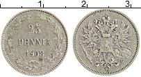 Изображение Монеты 1894 – 1917 Николай II 25 пенни 1908 Серебро XF L