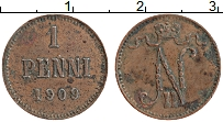 Изображение Монеты 1894 – 1917 Николай II 1 пенни 1909 Медь XF Вензель