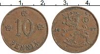 Изображение Монеты Финляндия 10 пенни 1927 Медь XF Редкий год !. Герб