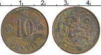 Изображение Монеты Финляндия 10 пенни 1936 Медь XF Герб