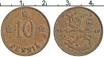 Изображение Монеты Финляндия 10 пенни 1940 Медь XF