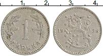 Изображение Монеты Финляндия 1 марка 1936 Медно-никель XF Редкий год !. Герб