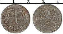 Изображение Монеты Финляндия 1 марка 1945 Железо XF Герб