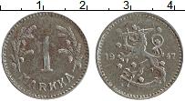 Изображение Монеты Финляндия 1 марка 1947 Железо XF Герб