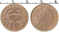 Изображение Монеты Гернси 1 пенни 1989 Медь XF Елизавета II. Краб