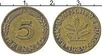 Изображение Монеты ФРГ 5 пфеннигов 1949 Латунь XF