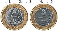 Изображение Монеты Бразилия 1 реал 2014 Биметалл UNC- Олимпиада в Рио.Голь