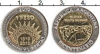 Изображение Монеты Аргентина 1 песо 2010 Биметалл UNC- 200 лет независимост
