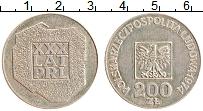 Изображение Монеты Польша 200 злотых 1974 Серебро XF 30 лет ПНР