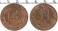 Изображение Монеты Карибы 2 цента 1955 Бронза XF Елизавета II