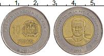 Изображение Монеты Доминиканская республика 10 песо 2005 Биметалл XF Мелла