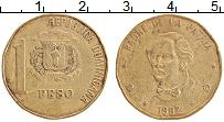 Изображение Монеты Доминиканская республика 1 песо 1992 Латунь XF Хуан Пабло Дуарте