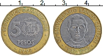 Изображение Монеты Доминиканская республика 5 песо 1997 Биметалл XF Санчез