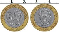 Изображение Монеты Доминиканская республика 5 песо 2005 Биметалл XF Санчез