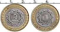 Изображение Монеты Аргентина 2 песо 2010 Биметалл UNC-