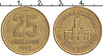 Изображение Монеты Аргентина 25 сентаво 1992 Латунь XF