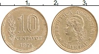 Изображение Монеты Аргентина 10 сентаво 1971 Латунь XF